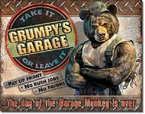 Grumpy's Garage Large Metal Sign 400mm x 300mm (de)